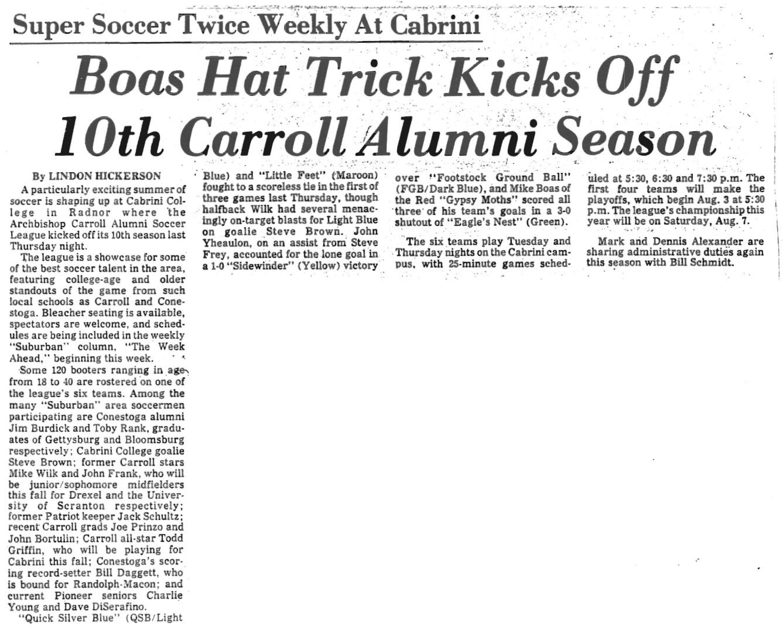 "Article from the Wayne Times title ""Boas Hat Trick Kicks Off 10th Carroll Alumni Season"""
